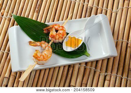 Japanese skewered Jumbo Shrimp .Studio  close up meal