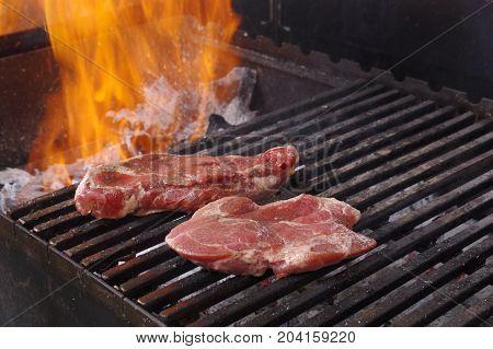 Sirloin Steak Prepared On The Barbecue Grill.