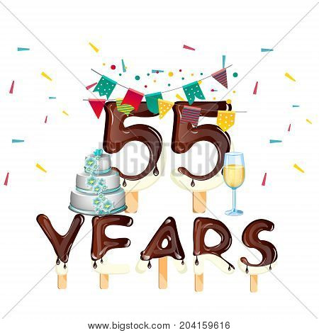 55 years Happy Birthday card. Vector illustration