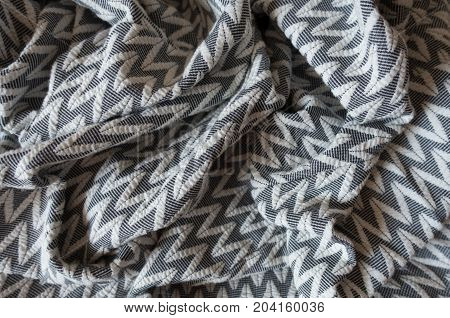 Draped Thick Grey Fabric With Geometric Pattern
