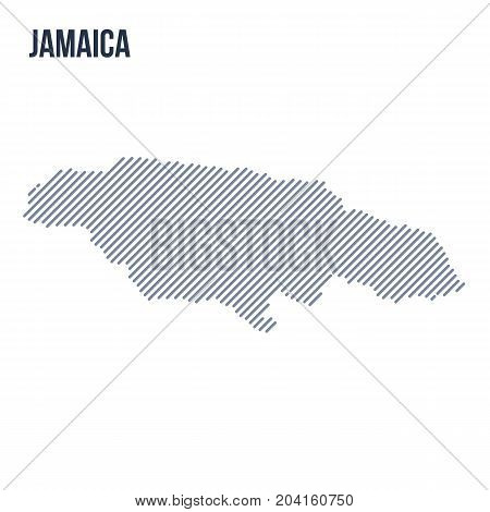 Vector Abstract Hatched Map Of Jamaica With Oblique Lines Isolated On A White Background.