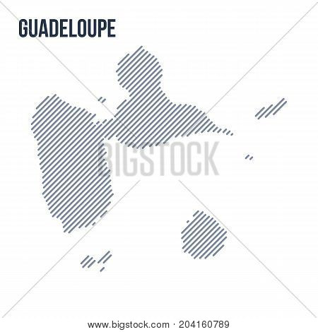 Vector Abstract Hatched Map Of Guadeloupe With Oblique Lines Isolated On A White Background.
