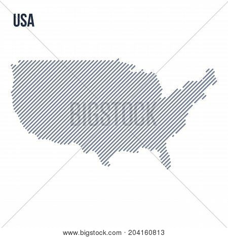 Vector Abstract Hatched Map Of The United States Of America With Oblique Lines Isolated On A White B