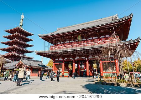 Tokyo, Japan - December 3, 2013: Tourists And Sightseers Wander Around Sensoji Temple In The Asakusa