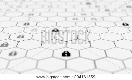 Blockchain network concept. Distributed ledger technology. Locks are located in Hexagonal cells on white background. 3d rendering illustration. Big data node base concept.
