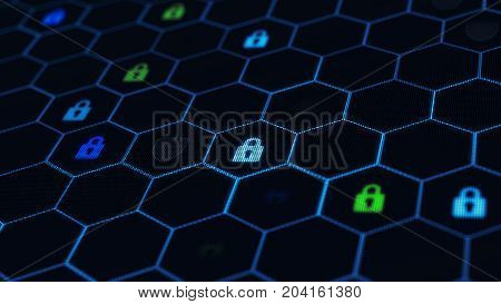 Blockchain network concept. Distributed ledger technology. Locks and shields are located in Hexagonal cells on black background. 3d rendering illustration. Big data node base concept.
