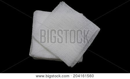 isolated gauze pads on the black background