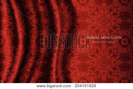 Traditional Red Chinese Silk Satin Fabric Cloth Background Spiral Vine Leaf Flower Chintz