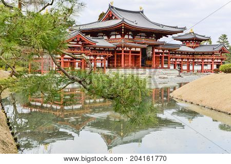 UJI KYOTO - JAPAN - FEBRUARY 28 2015 : Famous Byodo-in Buddhist temple a UNESCO World Heritage Site. Phoenix Hall building.