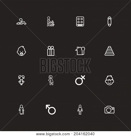 Set Of 16 Editable Kin Outline Icons. Includes Symbols Such As Grandmother, Boy, Present