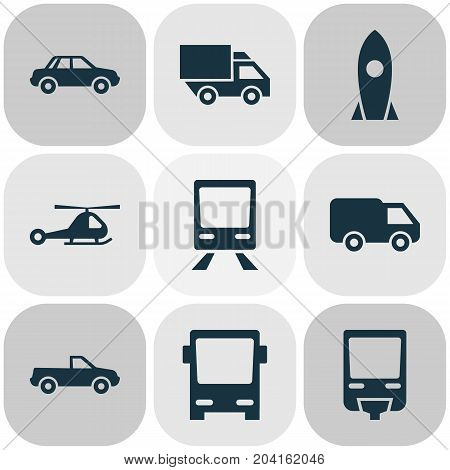 Transportation Icons Set. Collection Of Van, Omnibus, Automobile And Other Elements