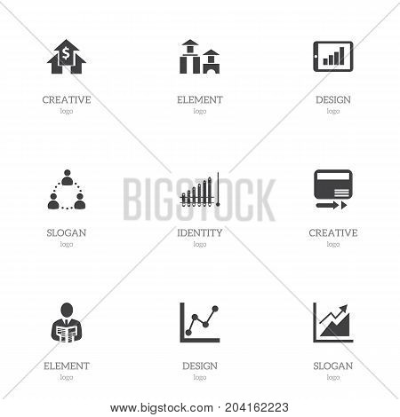 Set Of 9 Editable Logical Icons. Includes Symbols Such As Report, Businessman, Pay Redeem And More