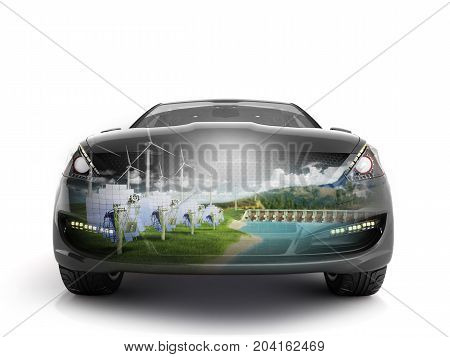 Double Exposure Concept Of Ecologically Clean Transport Ecostandard 3D Illustration On White Backgro