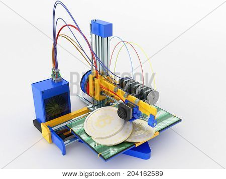 The Concept Of Printing Bitcoin On A 3D Printer 3D Render On A White Background No Shadow