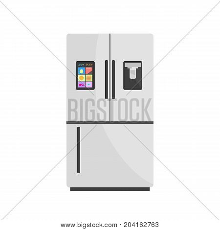 Modern Smart Fridge Isolated on Background. Vector Illustration of Refrigerator with Display and Ice Maker. Home Appliances Refrigerator, Fridge, Freezer. Flat Style.