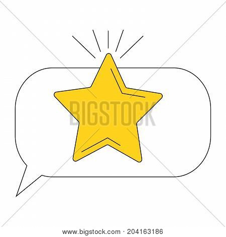 Vector illustration of a star. Icon with the image of a silhouette of the celestial five-pointed golden star for application, website, infographics, business-orientations on a white background.