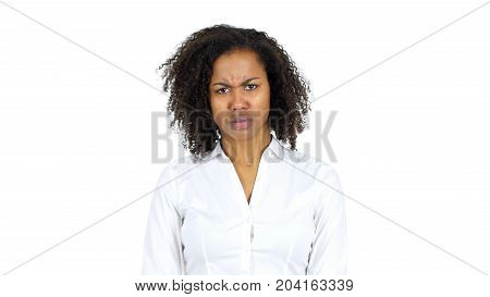 Black Woman Looking With Anger Isolated On White Background