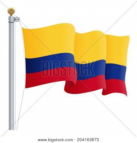 Waving Colombia Flag Isolated On A White Background. Vector Illustration. Official Colors And Proportion. Independence Day