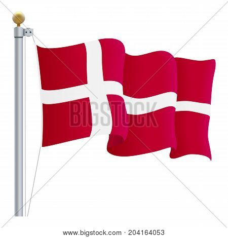 Waving Denmark Flag Isolated On A White Background. Vector Illustration. Official Colors And Proportion. Independence Day