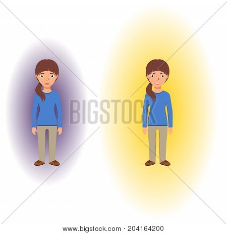 Energetic healing. Pranic healing. Alternative medicine concept. Reflection of health on the aura. Vector illustration.