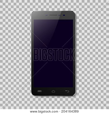 Black smartphone with blank screen isolated on transparent background. Vector illustration.
