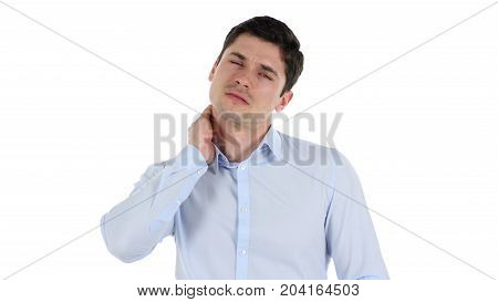 Neck Pain, Tired Businessman Isolated On White Background