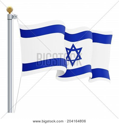 Waving Israel Flag Isolated On A White Background. Vector Illustration. Official Colors And Proportion. Independence Day