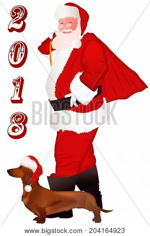Isolated Santa Claus standing with gift bag. Santa Claus and dog Dachshund.