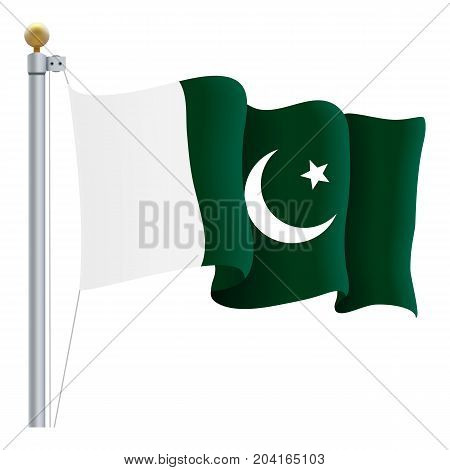 Waving Pakistan Flag Isolated On A White Background. Vector Illustration. Official Colors And Proportion. Independence Day