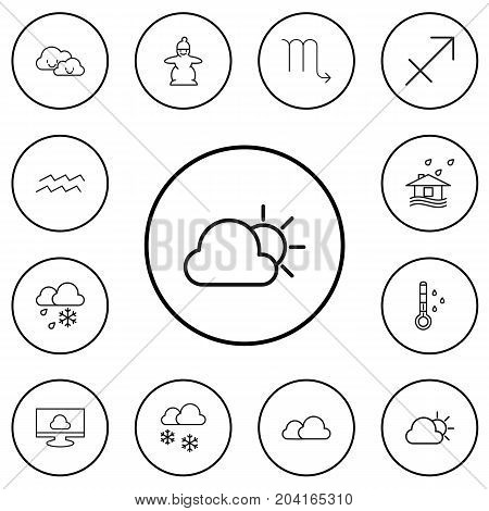 Set Of 12 Editable Climate Outline Icons. Includes Symbols Such As Zodiac Sign, Overcast, Weather And More