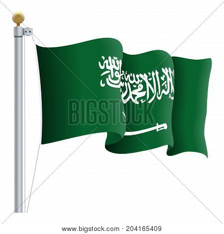 Waving Saudi Arabia Flag Isolated On A White Background. Vector Illustration. Official Colors And Proportion. Independence Day