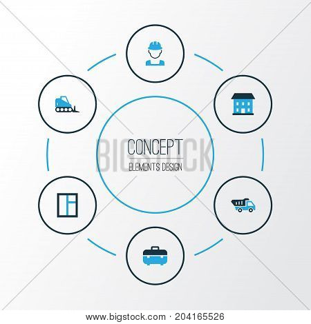 Architecture Colorful Icons Set. Collection Of Glass, Dozer, Worker And Other Elements