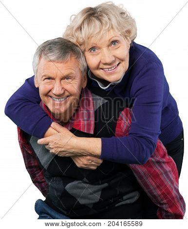 Couple happiness cheerful retired embracing heterosexual couple old