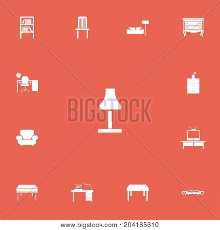 Set Of 13 Editable Furnishings Icons. Includes Symbols Such As Tv, Commode, Lamp And More