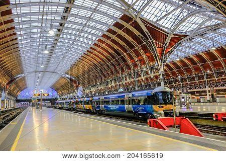 London UK - December 18 2016: Heathrow Express Train to Paddington Station in London United Kingdom.