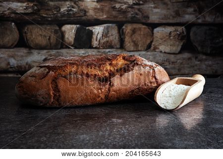 Gluten Free Breads And Flour On Grey Background