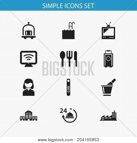 Set Of 12 Editable Motel Icons. Includes Symbols Such As Tv, Townhouse, Pool And More