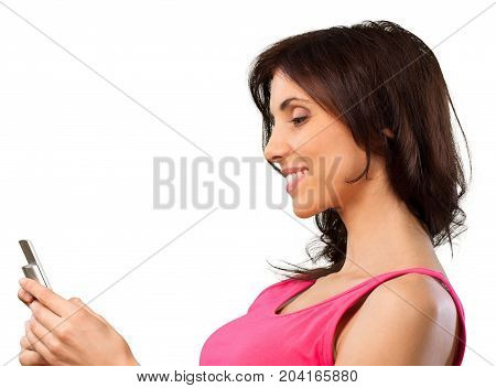 Mobile phone woman young woman cell phone smiling texting dialing phone