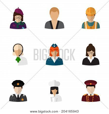 Set Of 9 Editable Job Flat Icons. Includes Symbols Such As Speaker, Sportsman, Painter And More