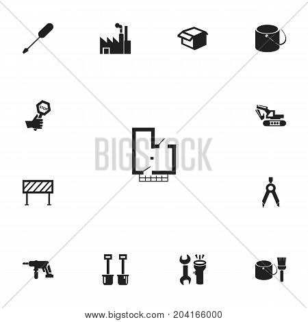 Set Of 13 Editable Structure Icons. Includes Symbols Such As Barrier, Turn-Screw, Electric Screwdriver And More