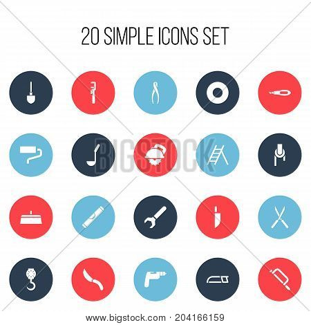 Set Of 20 Editable Instrument Icons. Includes Symbols Such As Spacer, Sheave, Knife Box And More