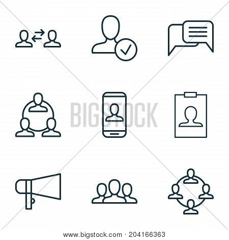 Social Icons Set. Collection Of Bullhorn, Confirm, Identity Card And Other Elements