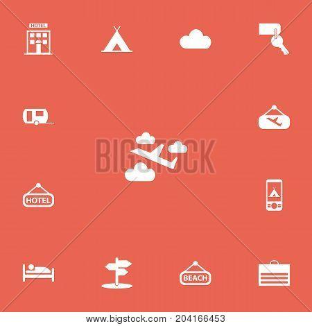 Set Of 13 Editable Trip Icons. Includes Symbols Such As Signboard, Overcast, Entrance And More
