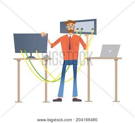 Man repairing a computer. Service repair of computers. Vector illustration, isolated on white background.