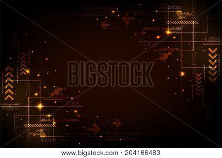 Vector circuit in technology concept on dark orange background