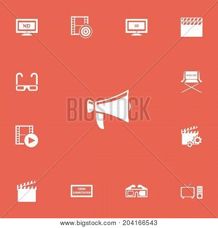 Set Of 13 Editable Filming Icons. Includes Symbols Such As Hd Screen, Clapperboard, Theater Agency And More