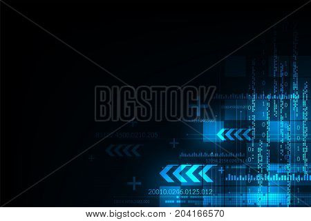 Technology in the digital concept on a dark blue background.