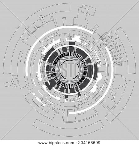 Vector technology concept on a gray background.