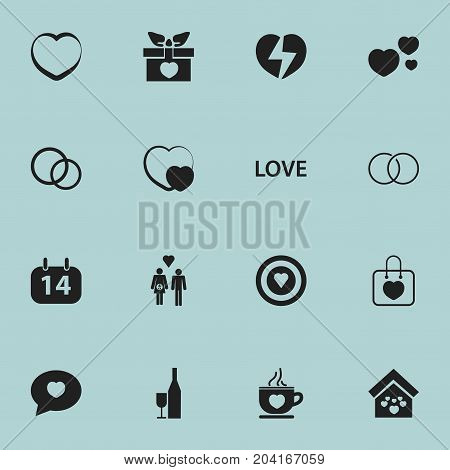 Set Of 16 Editable Passion Icons. Includes Symbols Such As Engagement, Romantic, Dartboard And More