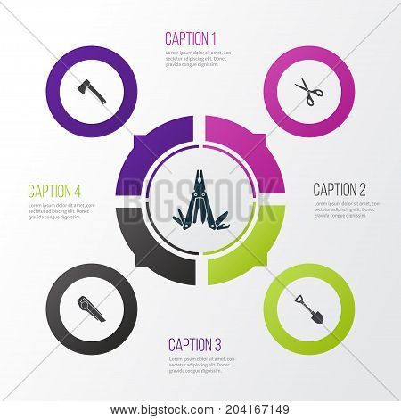 Tools Icons Set. Collection Of Shears, Multifunctional Pocket, Axe And Other Elements